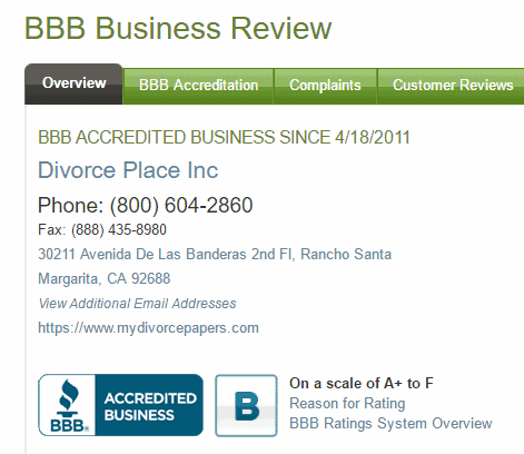 my divorce papers bbb divorce place inc accredited