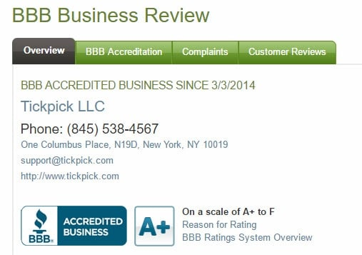 tickpick.com reviews 2016 bbb.org business review legit reliable tickets