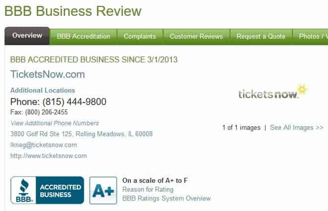 ticketsnow.com reviews 2016 is it scam bbb.org review