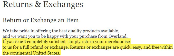 overland.com review returns exchanges