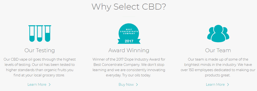 why select cbd oil brand products award winning testing