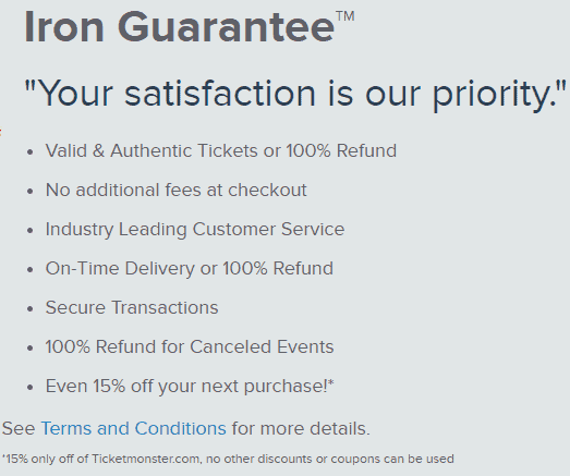 is ticketmonster legit guarantee refund