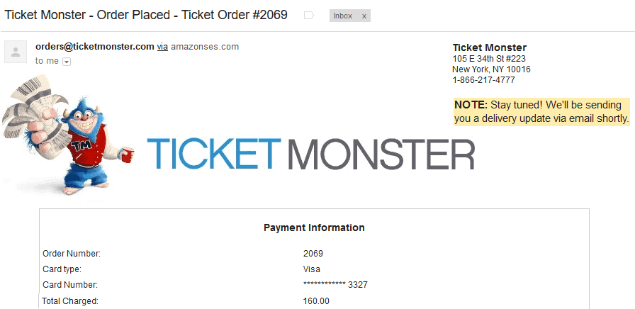 ticket monster reviews order confirmation