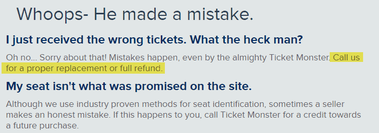ticketmonster.com reviews wrong tickets replacement