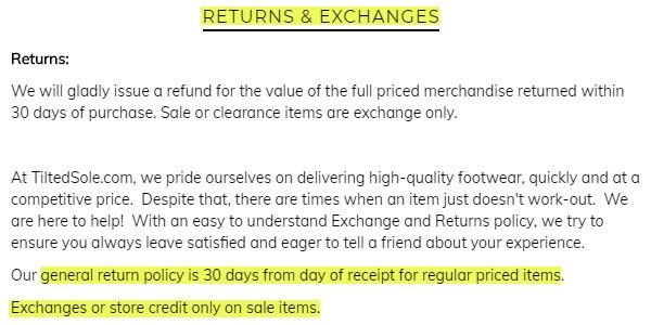 tiltedsole reviews returns exchanges legit