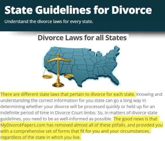 is my divorce papers legit state guidelines