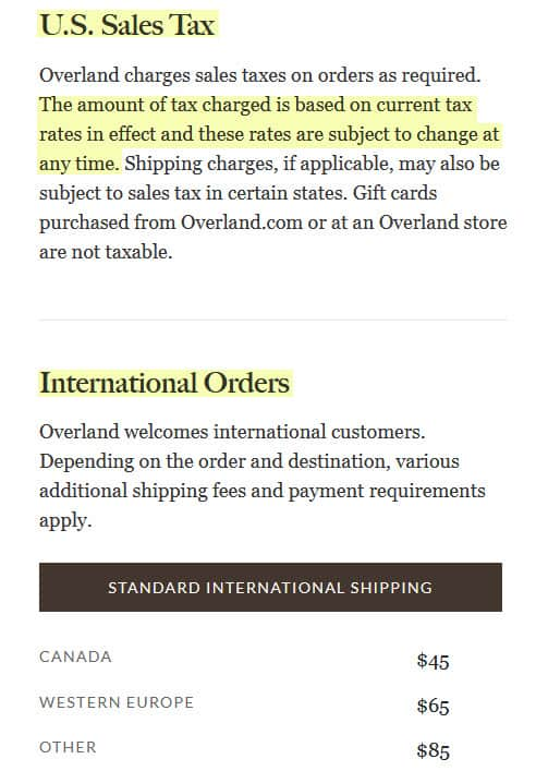 overland.com reviews 2021 us sales tax international orders fees