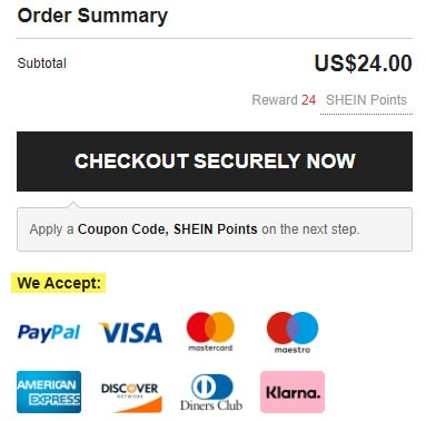 reviews shein.com payments checkout