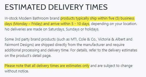 modernbathroom reviews delivery shipping times