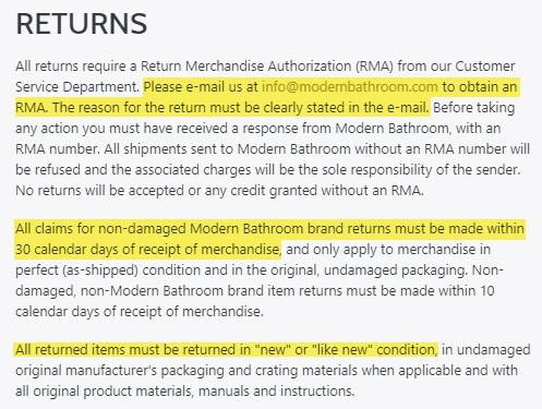 modernbathroom.com reviews returns exchanges