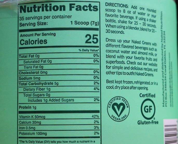 superfood naked greens review nutrition facts good