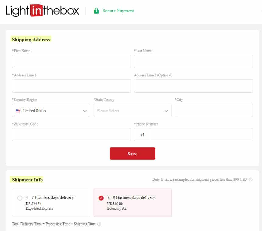 lightinthebox ordering shipping delivery cost address
