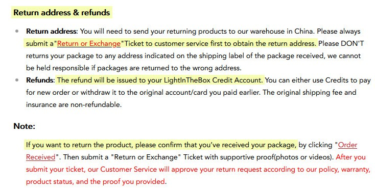 review light in the box return policy address