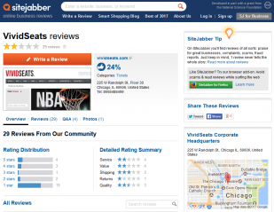 vivid seats reviews reliable sitejabber